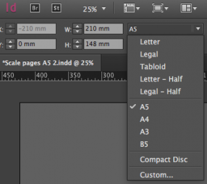 Change dimensions in InDesign CC
